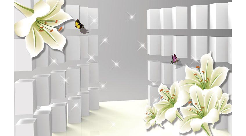 Фотообои 3D Лилии и кубы