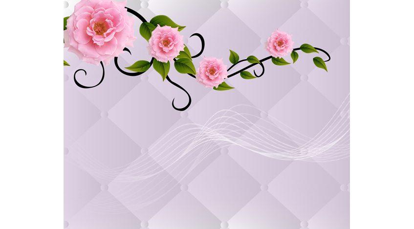 Фотообои 3D Розы на фоне белой обивки