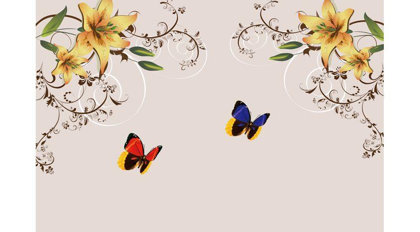 Фотообои 3D Оранжевые лилии и бабочки