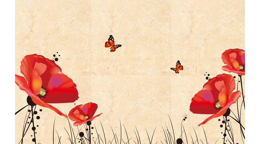 Фотообои 3D Красные маки и бабочки