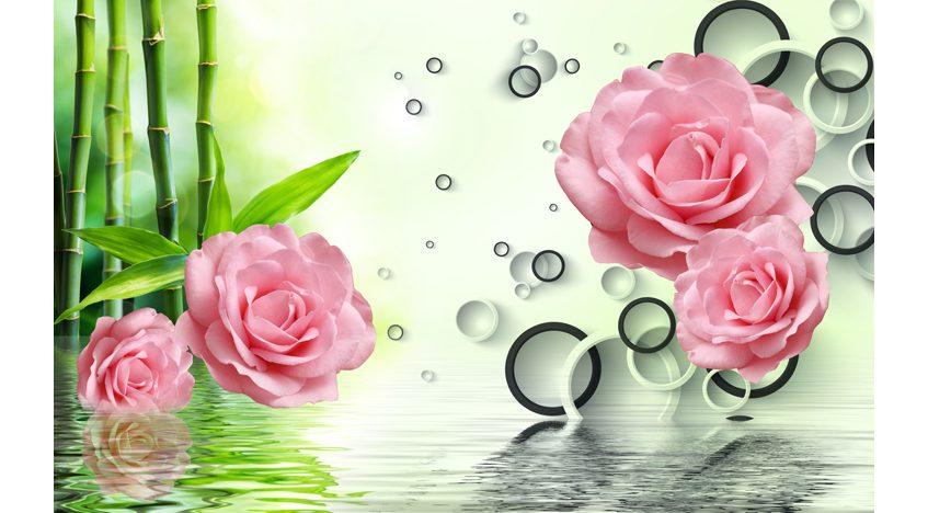 Фотообои 3D Бамбук и розы над водой