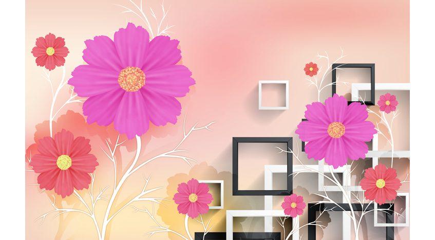 Фотообои 3D Яркие красочные цветы