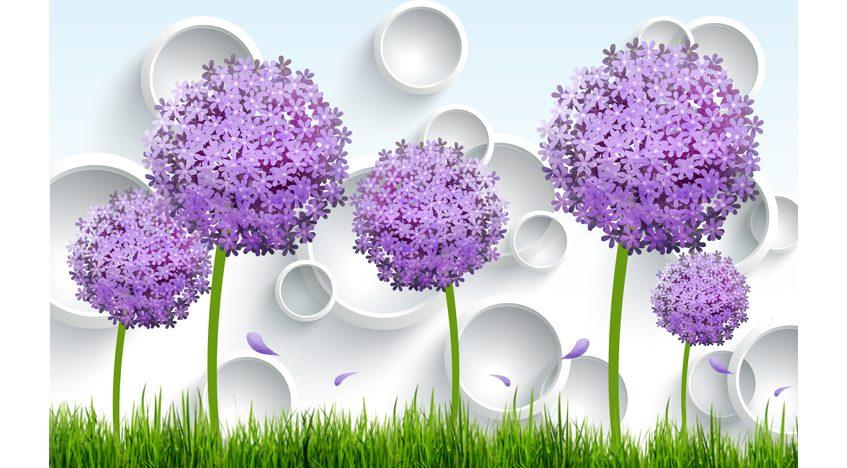 Фотообои 3D Фиолетовые одуванчики на фоне белых кругов