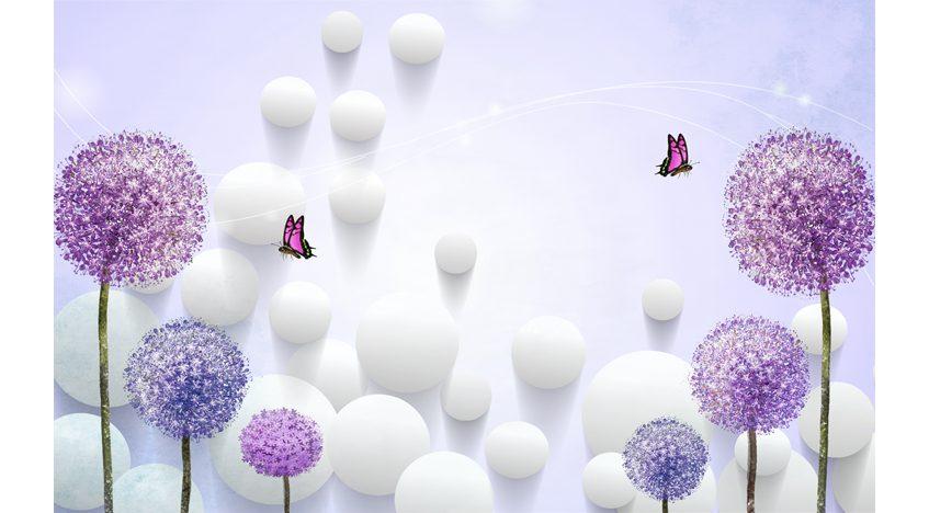 Фотообои 3D Фиолетовые одуванчики и белые шары