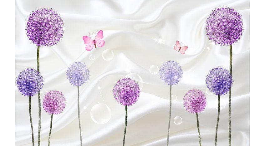 Фотообои 3D Фиолетовые одуванчики и бабочки