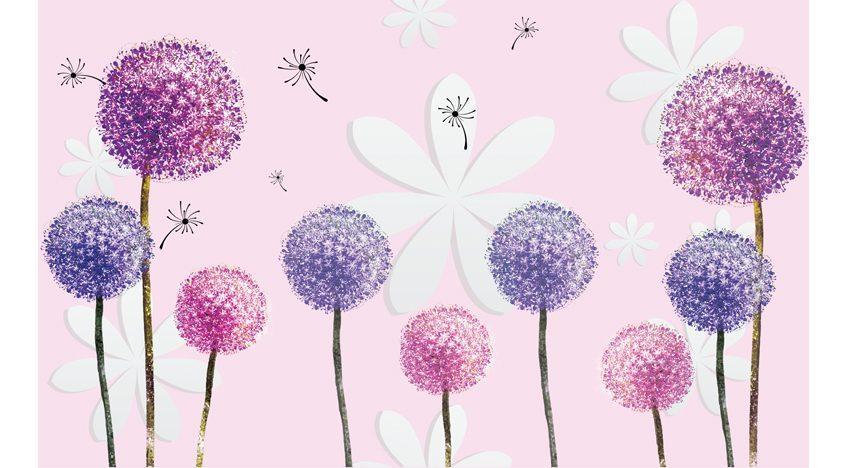 Фотообои 3D Нежные фиолетовые одуванчики на розовом фоне