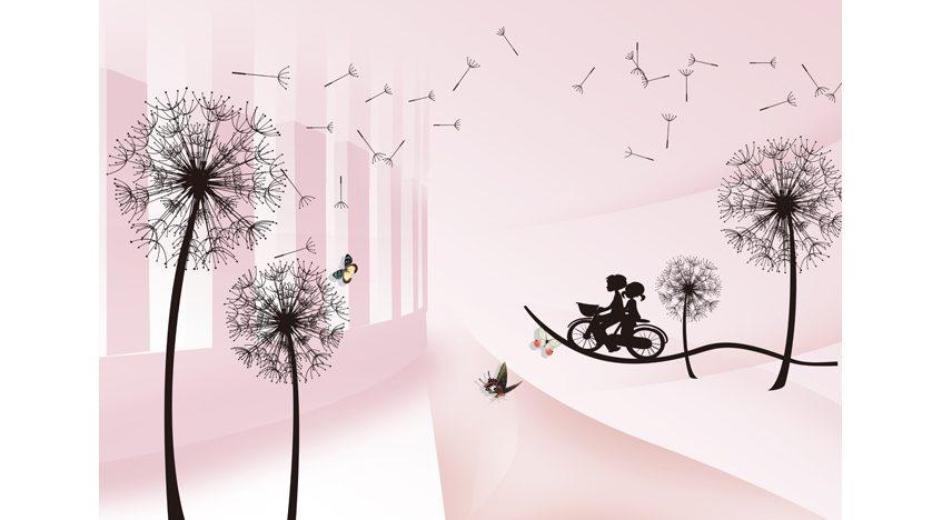 Фотообои 3D Детский рисунок с одуванчиками
