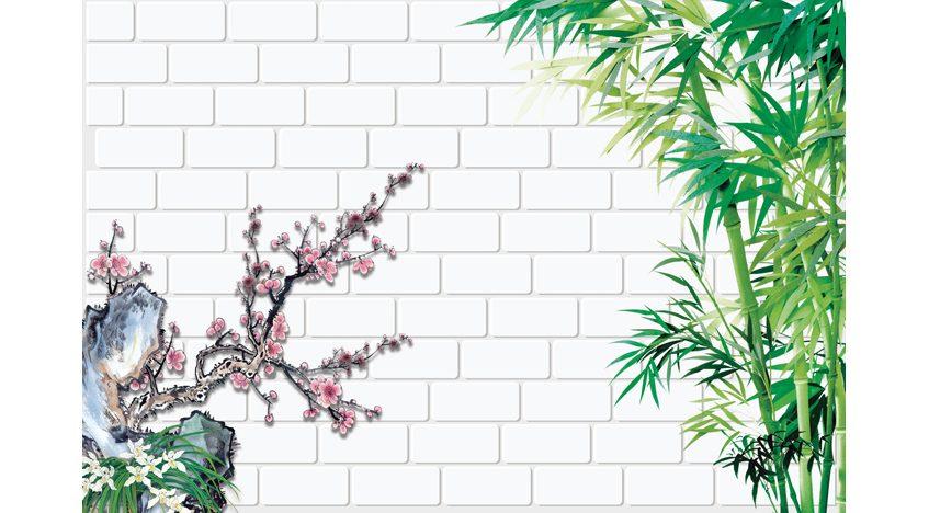 Фотообои 3D Бамбук на фоне кирпичной стены