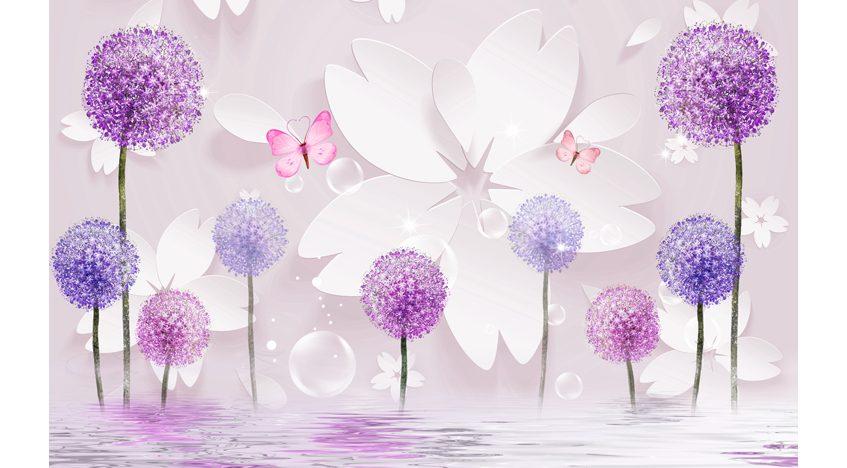 Фотообои 3D Фиолетовые одуванчики над водой
