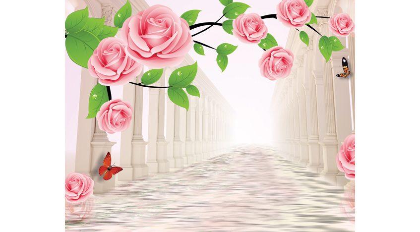 Фотообои 3D Нежные розы и тоннель