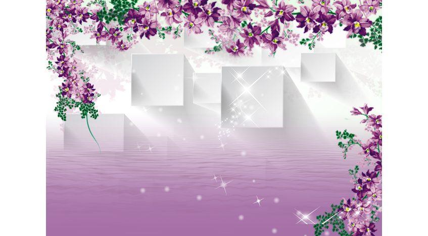 Фотообои 3D Фиолетовые цветы и квадраты над водой