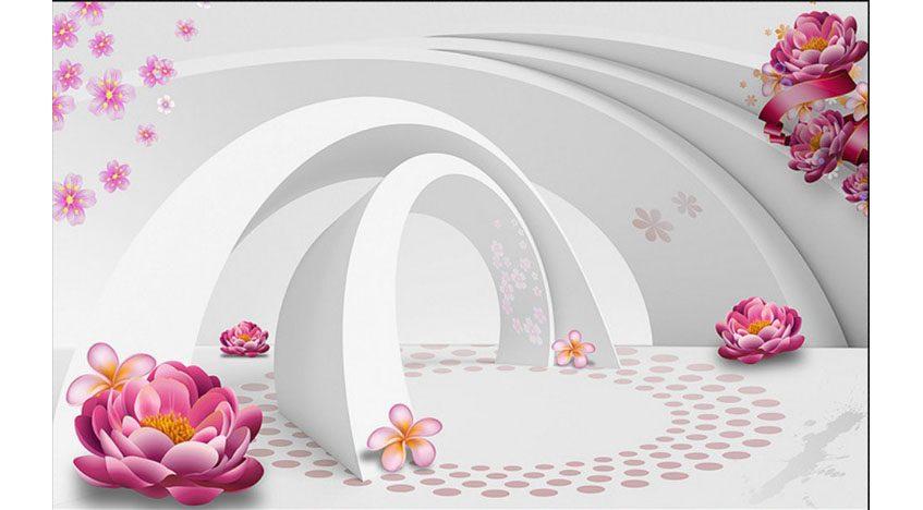 Фотообои 3D Туннель с розовыми цветами