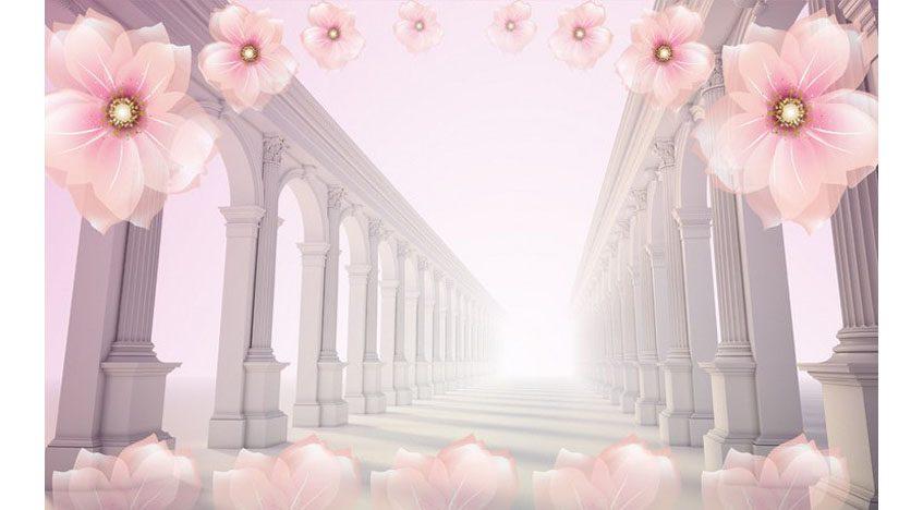 Фотообои 3D Туннель с колоннами и цветами