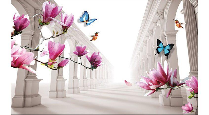 Фотообои 3D Розовые цветы на фоне туннеля с колоннами