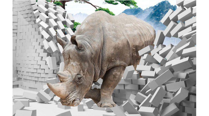 Фотообои 3D носорог, пробивающий стену