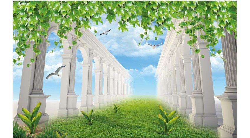 Фотообои 3D Белые колонны в саду