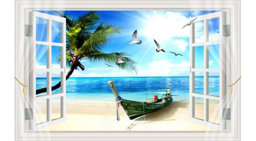Фотообои 3D Окно к морю
