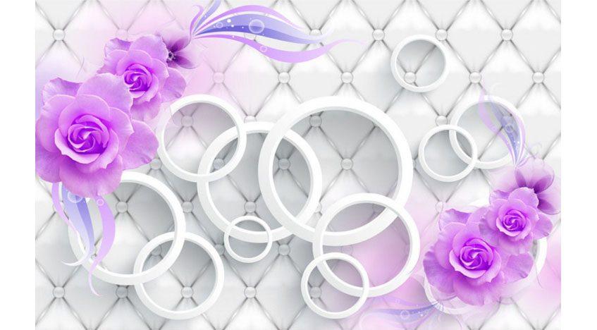 Фотообои 3D Фиолетовые розы на белом фоне