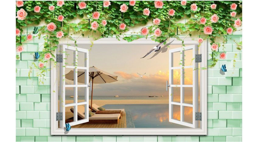 Фотообои 3D Окно с видом на пляж