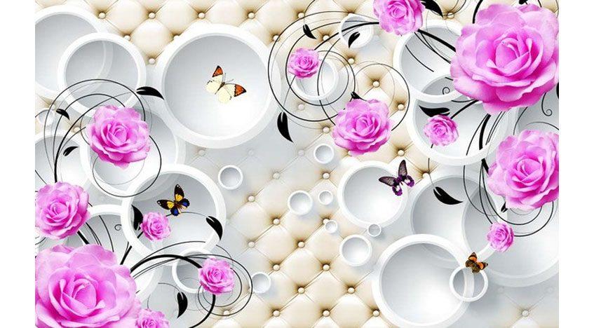 Фотообои 3D Розы и бабочки на фоне кругов
