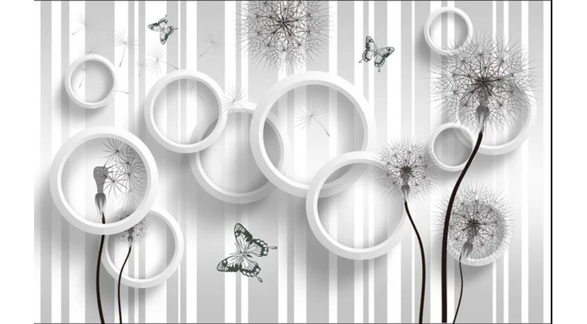 Фотообои 3D Бабочки и одуванчики