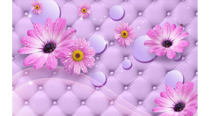 Фотообои 3D Герберы на розовом фоне