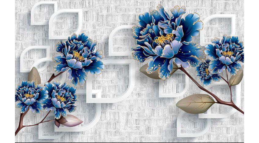 Фотообои 3D Синие цветы