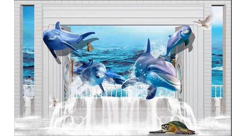 Фотообои 3D Дельфины и черепаха