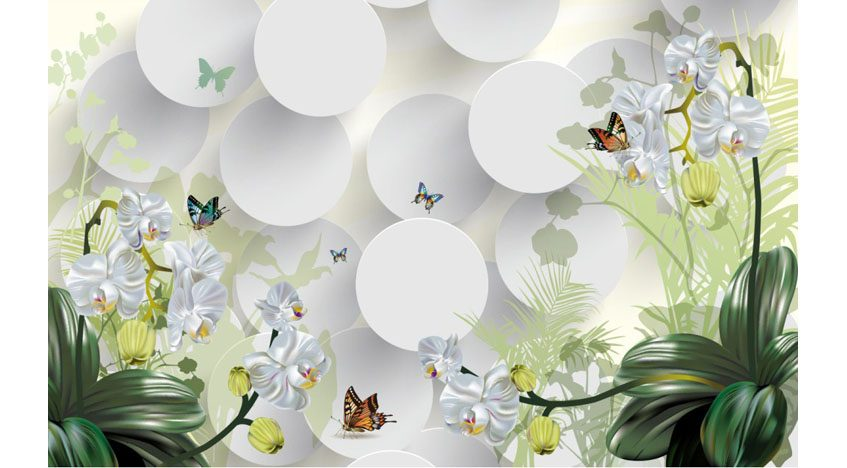 Фотообои 3D Белые орхидеи с бабочками