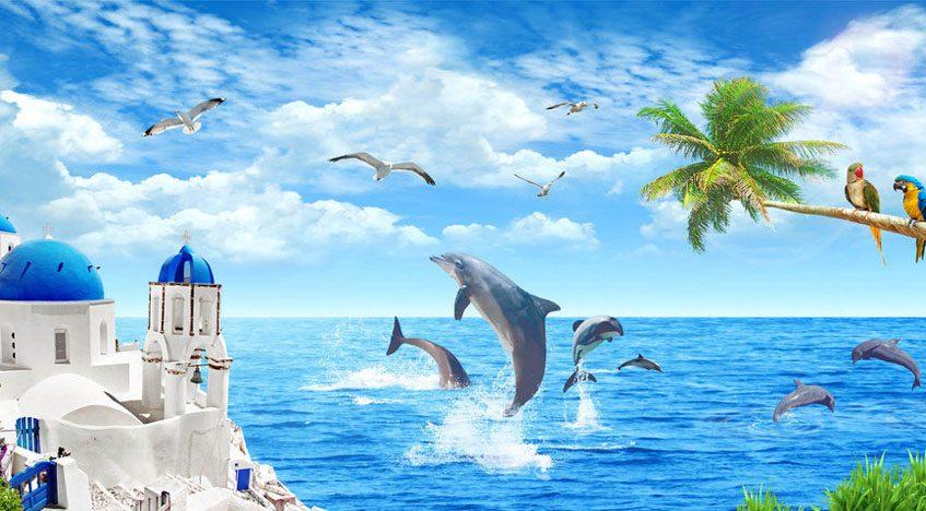 Фотообои 3D Дельфины в море