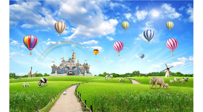 Фотообои 3D Сказочный замок и воздушные шары
