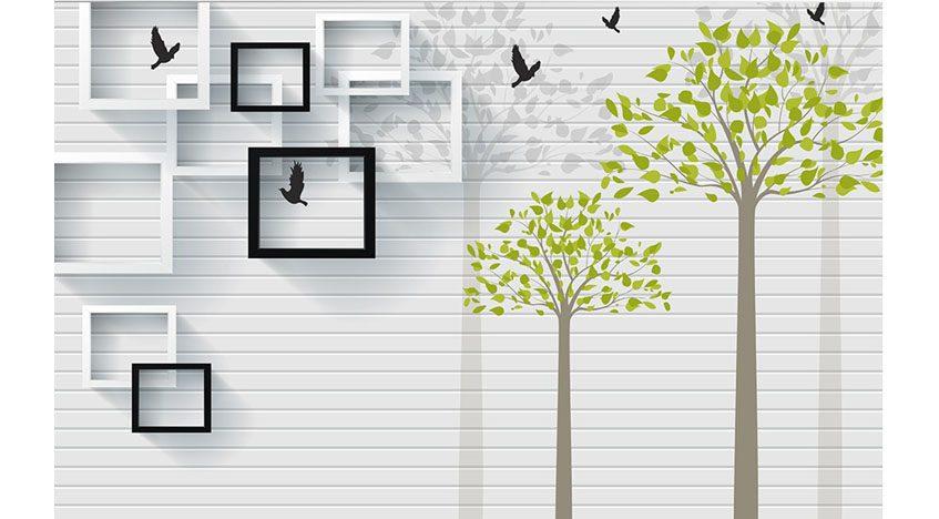 Фотообои 3D Деревья на фоне стены