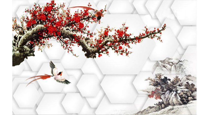 Фотообои 3D Красная ветка дерева на белом фоне
