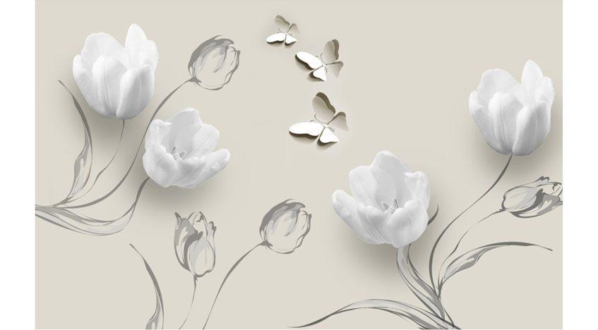 Фотообои 3D Белые тюльпаны