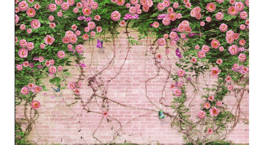 Фотообои 3D Вьющиеся розы на фоне кирпичной стены