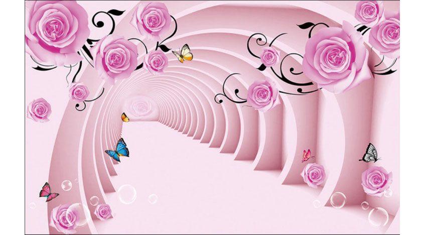Фотообои 3D Розовый туннель