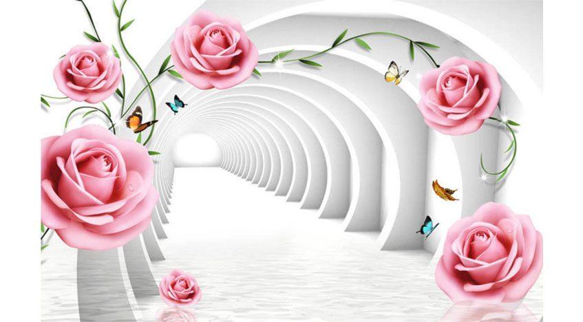 Фотообои 3D Розы и белый туннель
