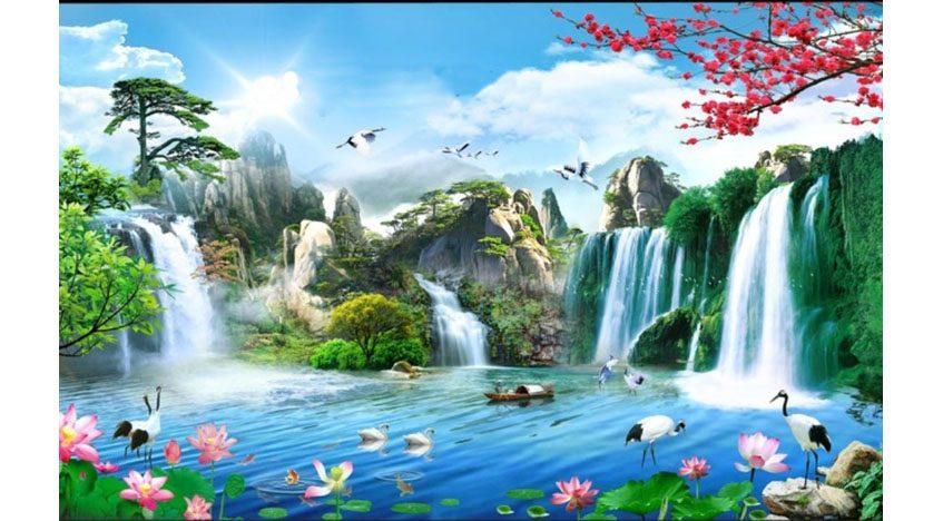 Фотообои 3D Водопад в сказочных джунглях