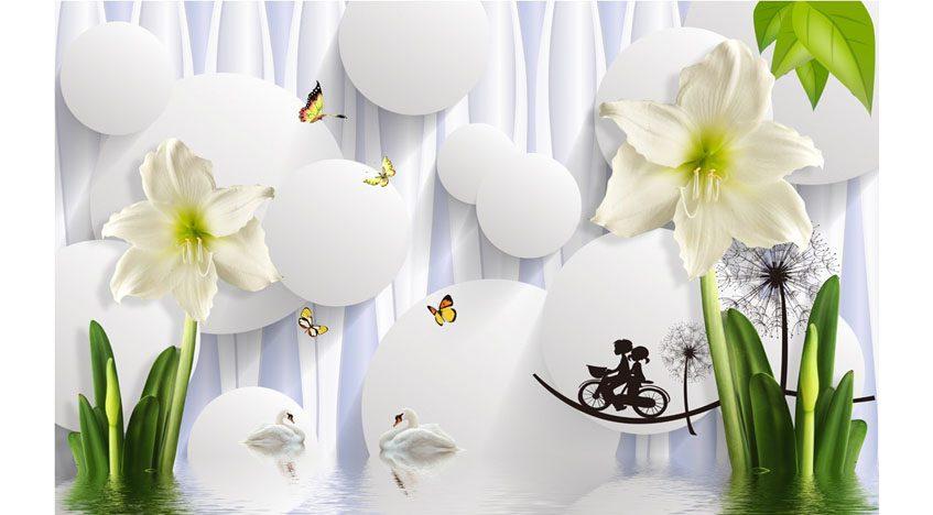 Фотообои 3D Белые лилии на объемном фоне