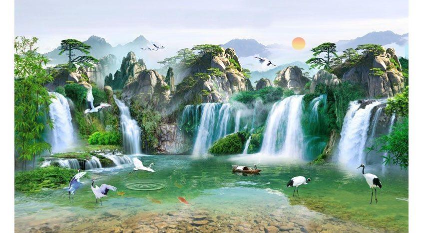 Фотообои 3D Большой сказочный водопад