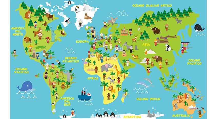 Фотообои 3D Детская карта мира