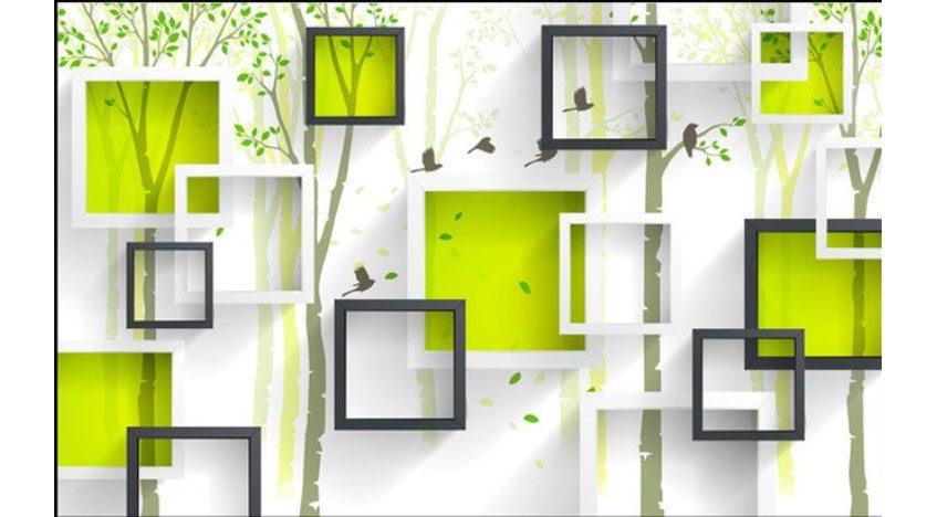 Фотообои 3D Квадраты на фоне деревьев