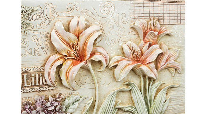 Фотообои 3D Лилии под каменную фреску
