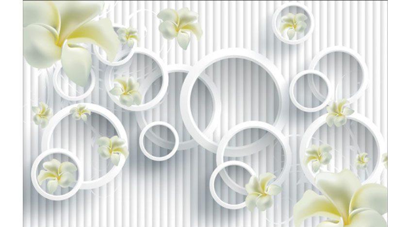 Фотообои 3D Белые цветы на фоне кругов