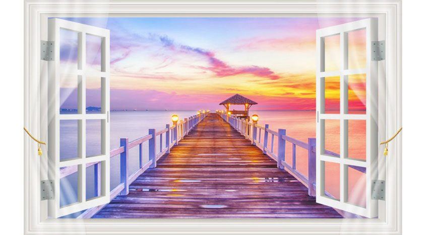 Фотообои 3D Вид на закат из окна