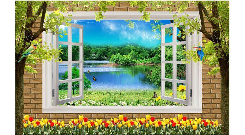Фотообои 3D Вид из окна на озеро