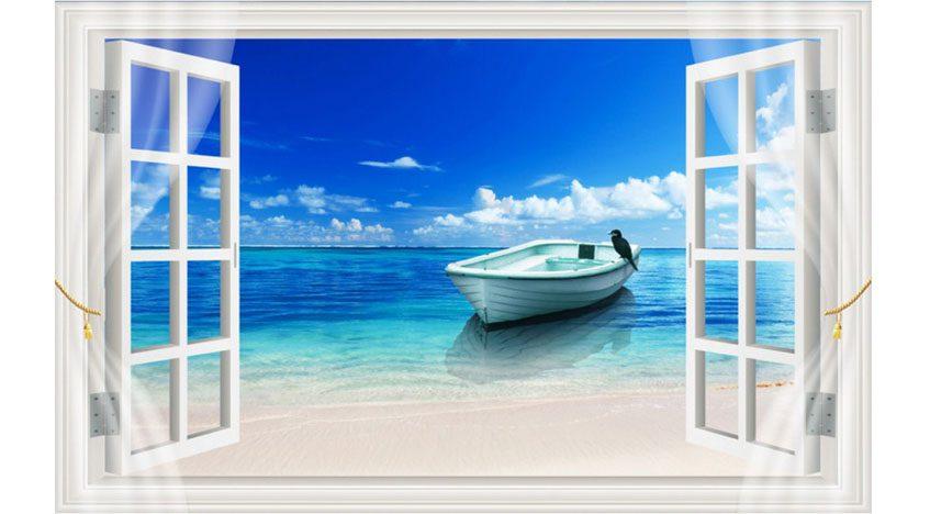 Фотообои 3D Вид из окна на море