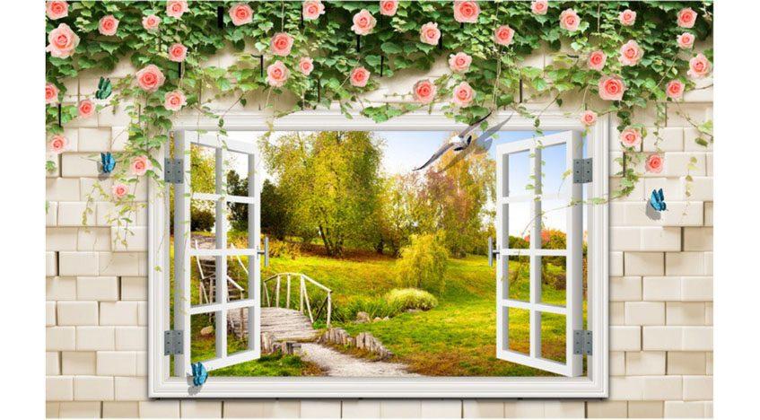Фотообои 3D Вид в сад из окна