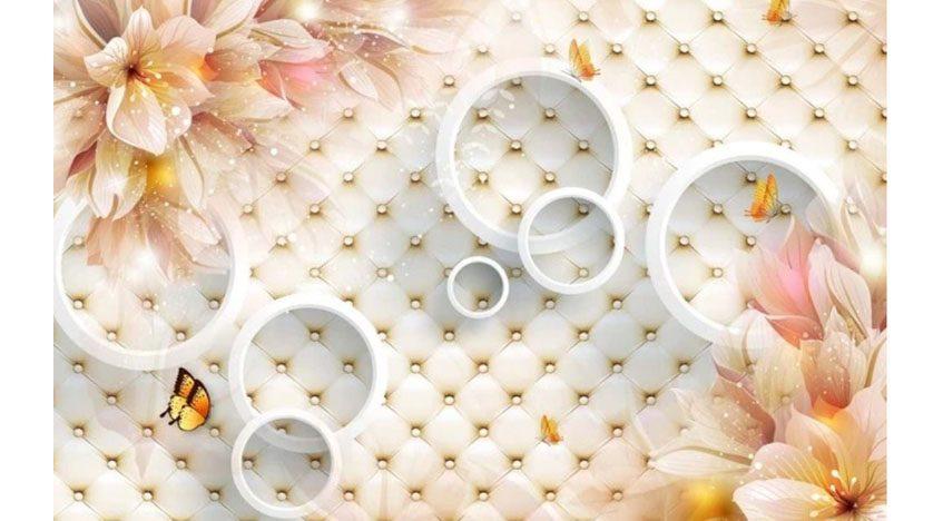 Фотообои 3D Лилии с бабочками