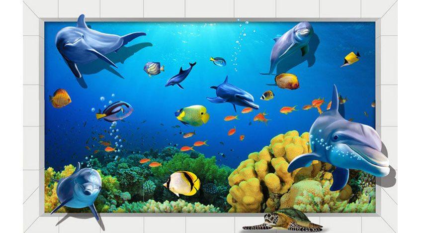Фотообои 3D Подводный мир с дельфинами